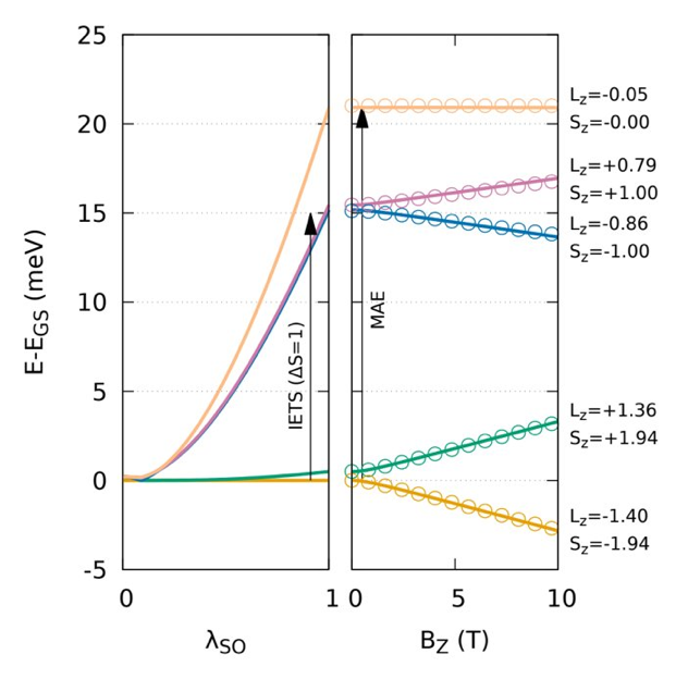 Low-energy spectrum of the multiplet solution of Fe on MgO